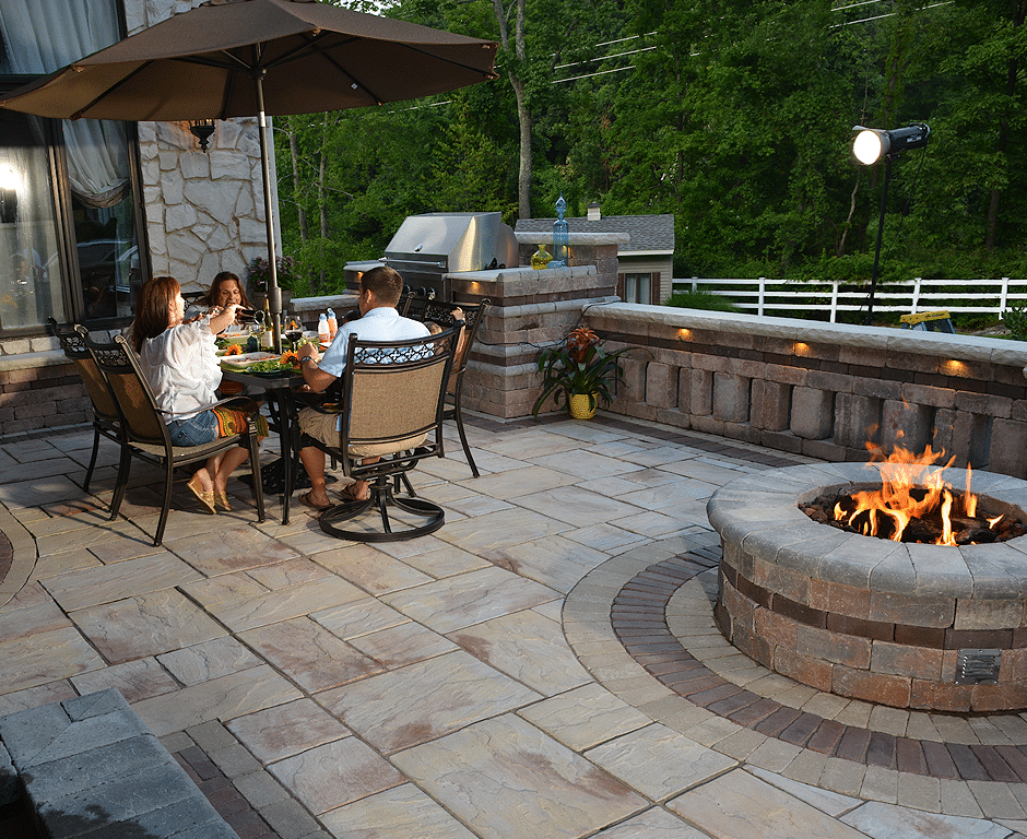 brick patio dining area
