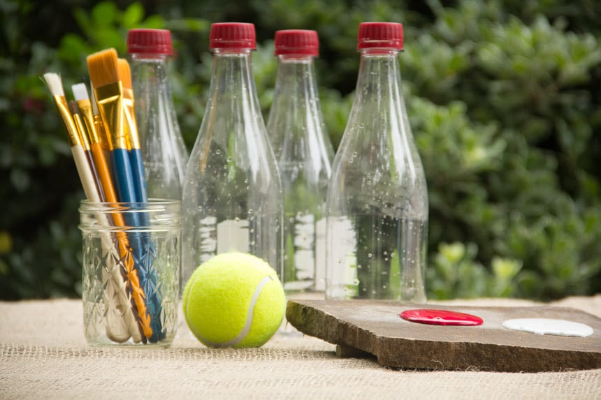 The tools you need to make a recycled bottle bowling game