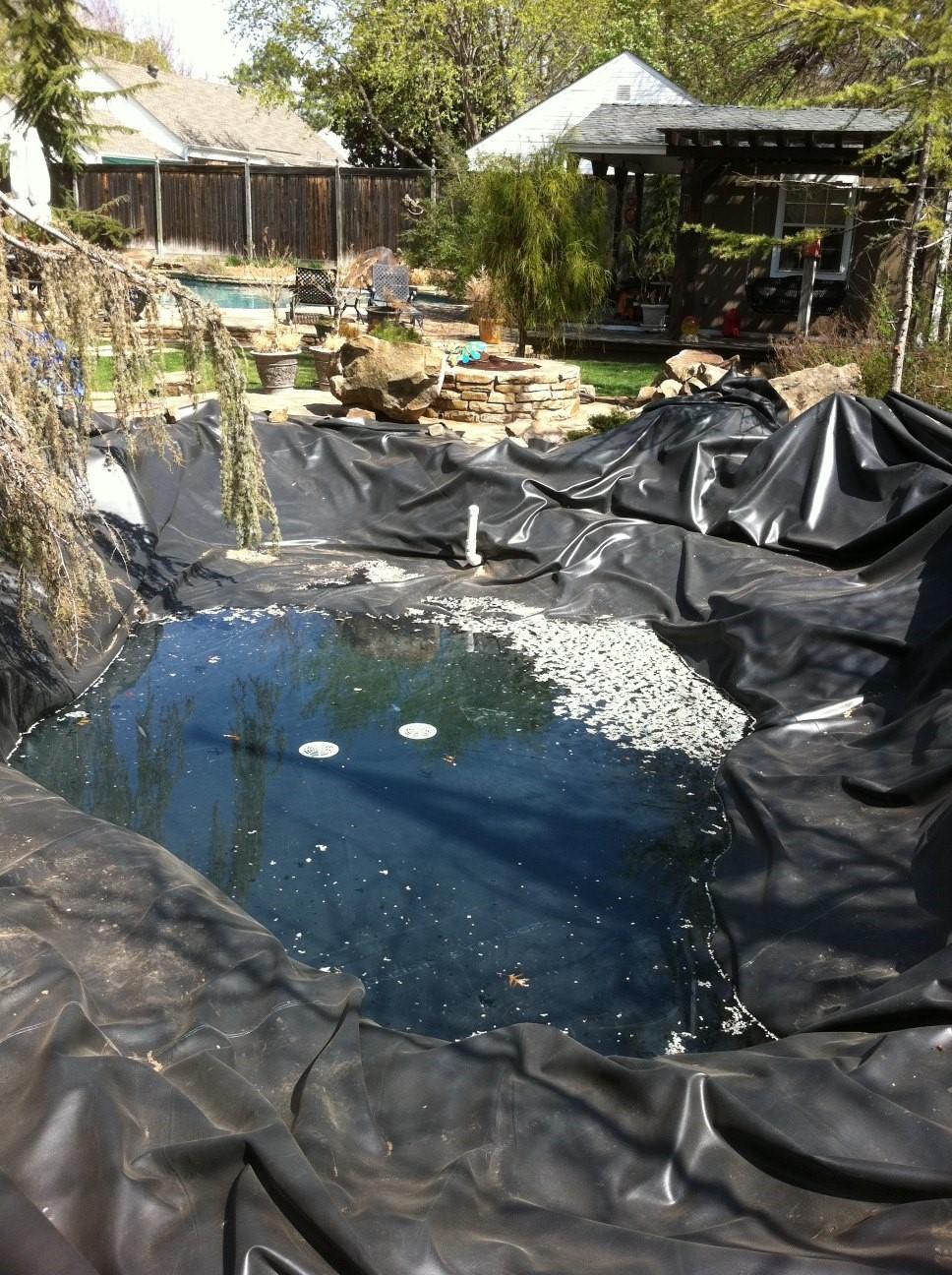 rubber liner on a koi pond
