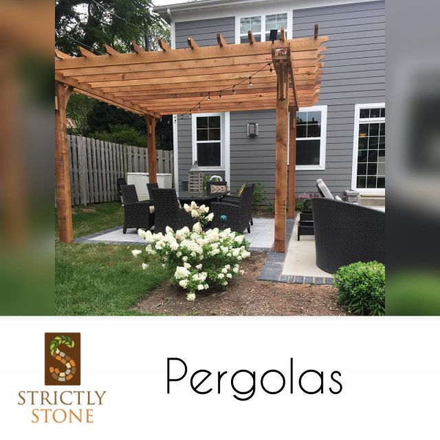 Pergolas are the perfect complementary structures for patios. They add depth and an architectural feel to your outdoor living space. Not to mention they are the perfect space to install Italian lights. Everyone loves Italian lights! #strictlystone #unilock #pergola #outdoorliving #outdoorlivingspace #patio #family